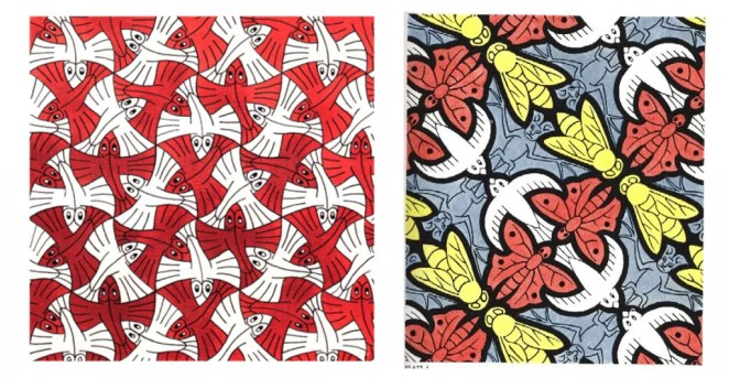 Two tessellation paintings by M. C. Escher