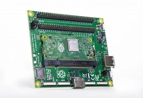 A Compute Module 3+ inserted into a Compute Module IO board