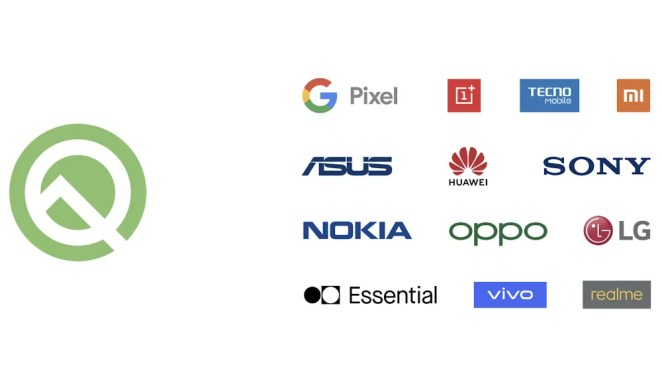 A grid of logos that demonstrates which devices and brands Android Q beta is available on, including Pixel, Sony, Nokia, Huawei and LG.