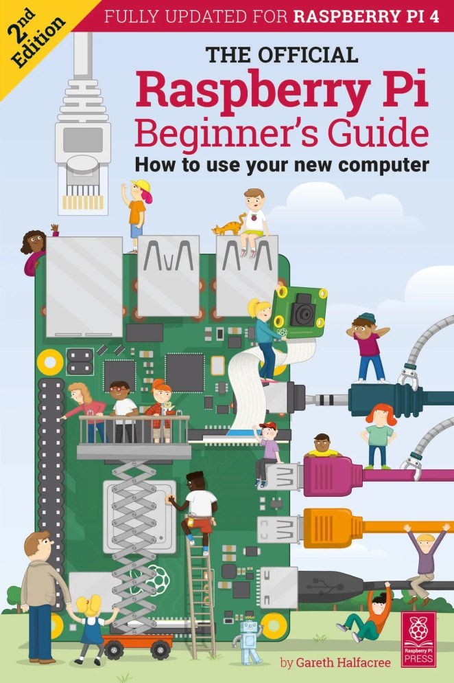 A picture of the front cover of the Raspberry Pi Beginner's Guide version two