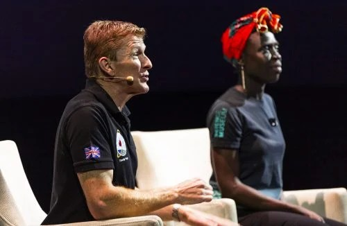 Tim Peake and a moderator in a Q&A at the Science Museum