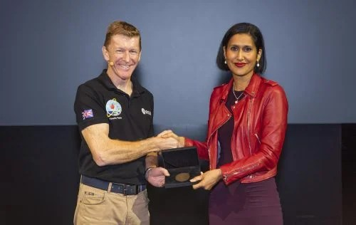 Royal Academy of Engineering CEO Dr Hayaatun Sillem presents Tim with the 2019 Rooke Award for public engagement with engineering, in recognition of his nationwide promotion of engineering and space.