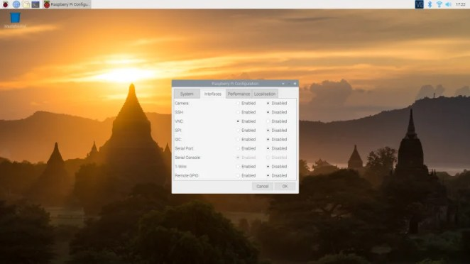 Screenshot of interfaces enabled in Raspbian