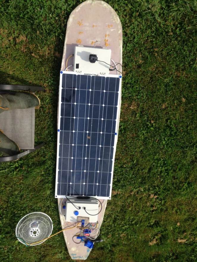 The AMOS is solar powered, and can maintain itself all day when it's sunny