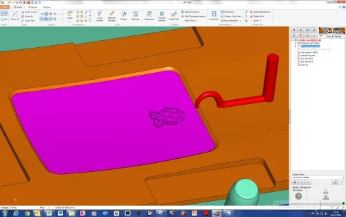 CAD representations of logo and tool