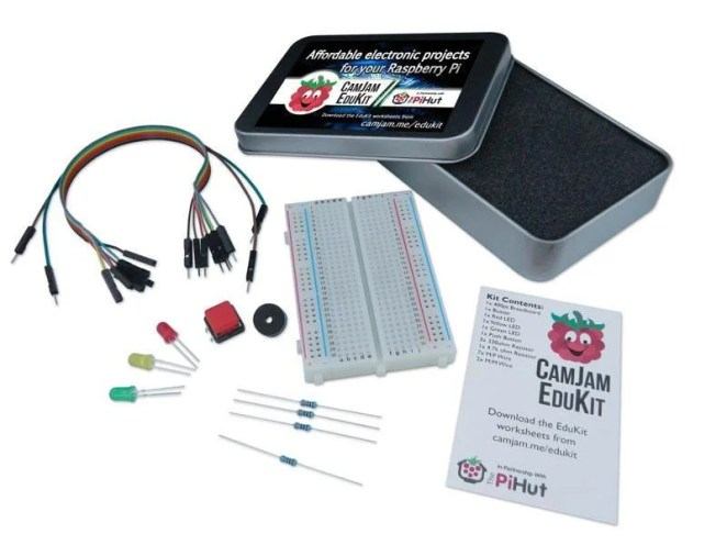 CamJam EduKit provides buzzers, sensors, LEDs, a breadboard and connectors for prototyping circuits