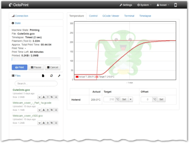 Octoprint adds 3D printing to your Raspberry Pi and offers a web interface for on-the-move updates