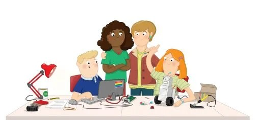A family of digital makers (illustration)
