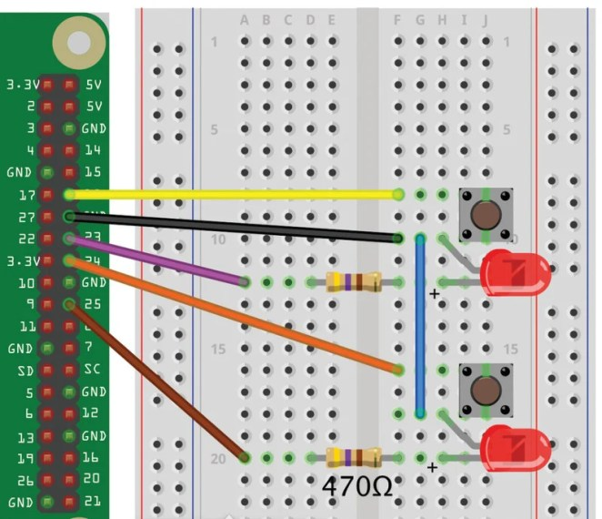 Figure 2 The Reaction Timer wiring diagram