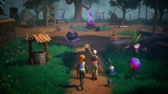 Scene in Drake Hollow depicting little drakes playing and a small village with armored humans.