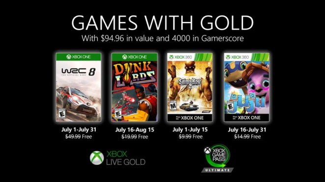 New Games with Gold for July 2020