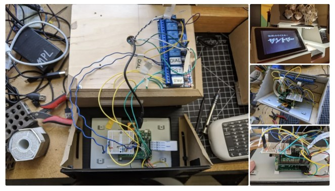Behind the scenes of the interactive screen with the Raspberry Pi wired up
