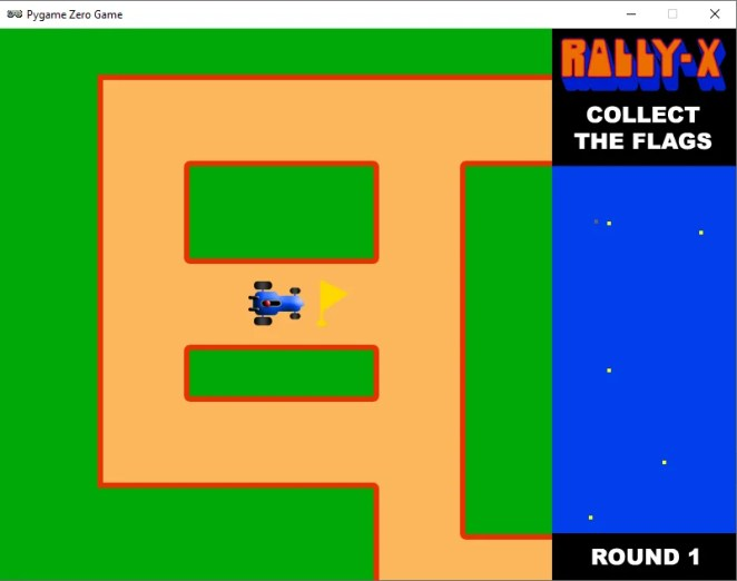 A screenshot of our Rally-X homage running in Pygame Zero