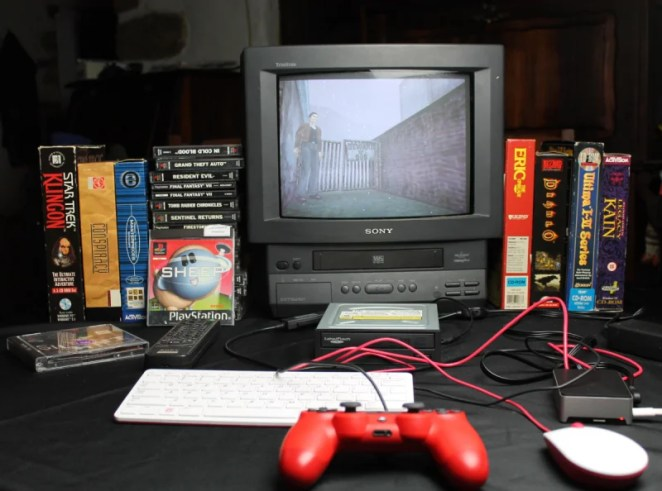 This system can play DOS CD-ROM titles from disc as well as original games