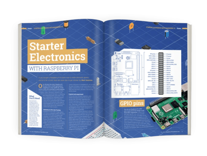 A blue double page spread on Starter Electronics