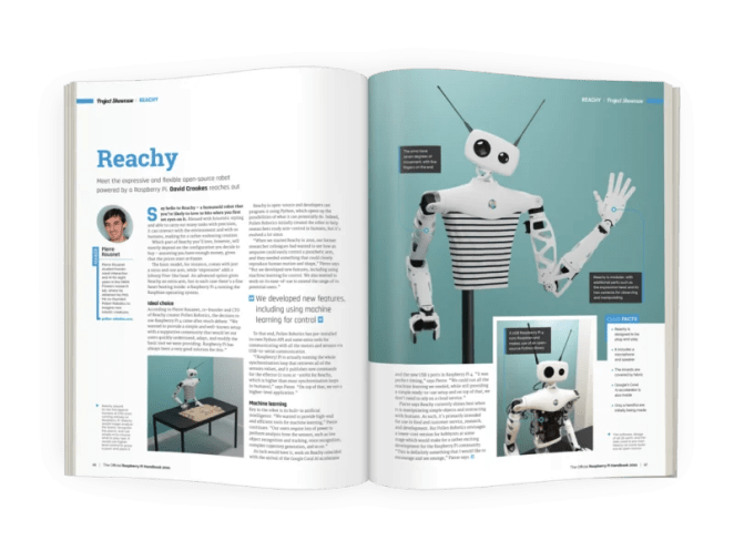 A double page spread about Reachy robot. Robot is white with big black eyes and a stripy torso