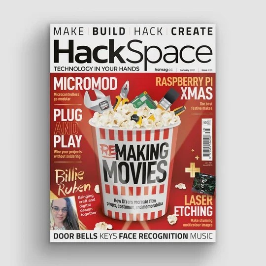 Front cover of hack space magazine featuring a big striped popcorn bucket filled with maker tools and popcorn