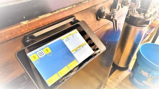 Raspberry Pi seven inch touch screen running Keg Punk software