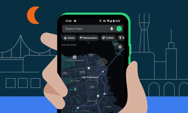 San Francisco on Google Maps dark theme