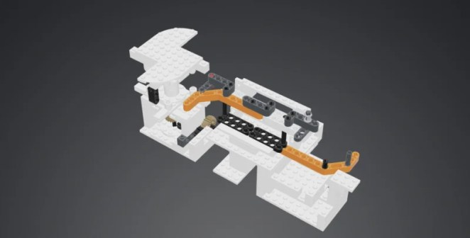 a 3 D rendering of the LEGO parts used to make the scanner
