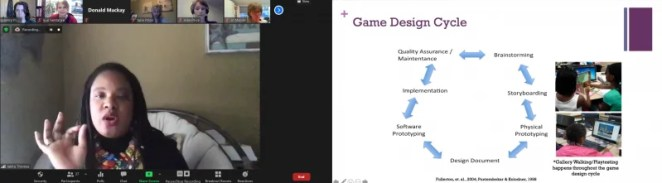 """Dr Jakita Thomas presents a slide: Game design cycle: brainstorming, storyboarding, physical prototyping, design document, software prototyping, implementation, quality assurance / maintenance"""""""