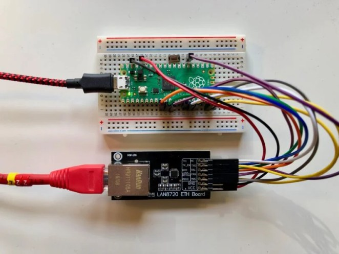 LAN8720 breakout wired to a Raspberry Pi Pico on a breadboard.