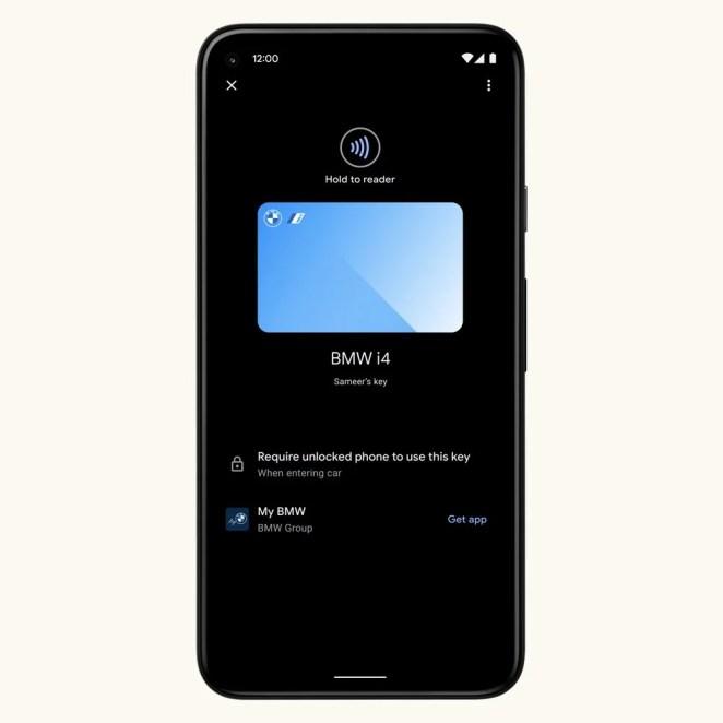 Phone with a digital car key for BMW