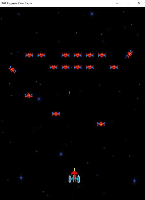 Our Galaxian homage up and running in Pygame Zero.