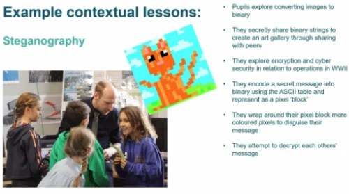 Description of a computing lesson that uses collaborative play and pixel art to introduce steganography.
