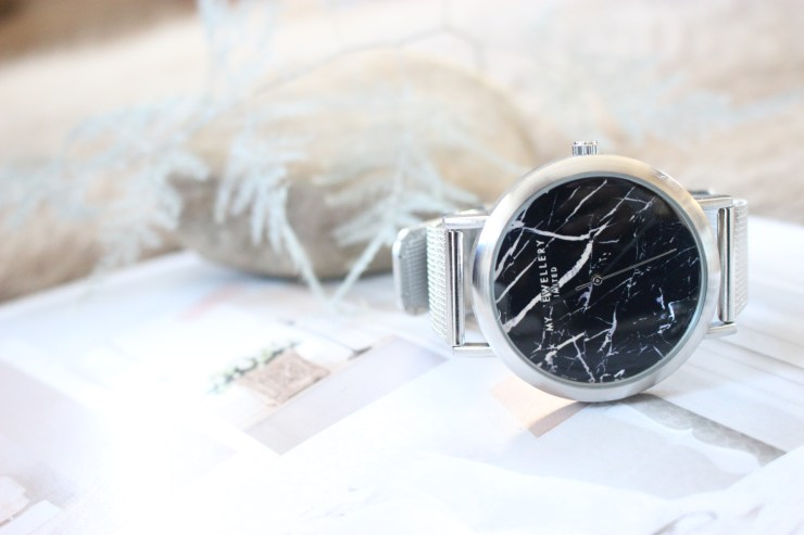 MY JEWELLERY LIMITED SILVER BLACK MARBLE WATCH