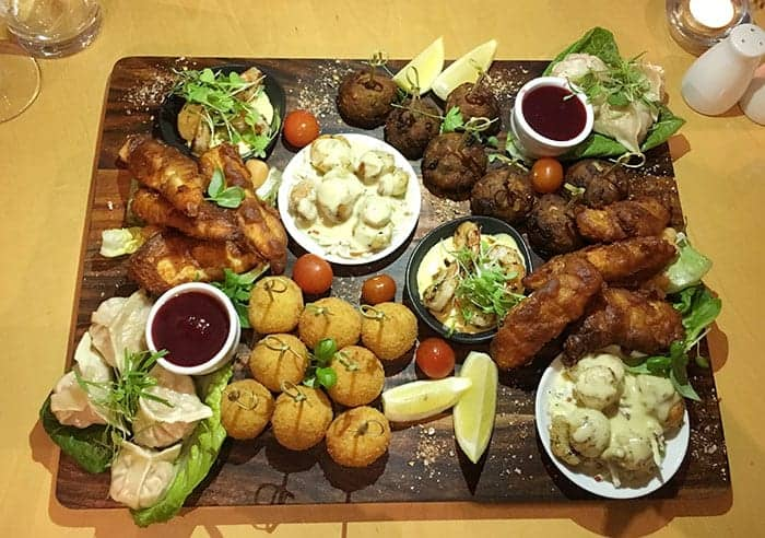 Shared entree platter at Doubletree hotel christchurch