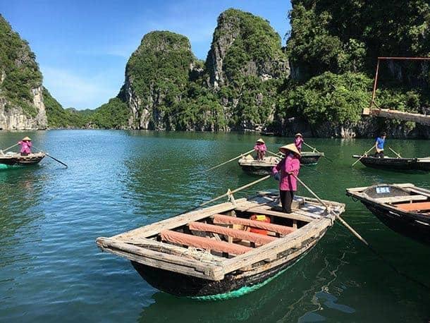 Bamboo boat Ha Long Bay