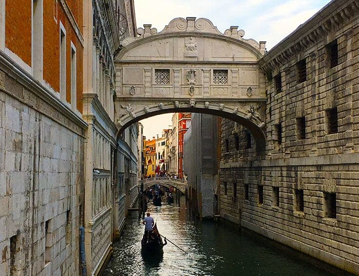 Bridge of Sighs canal in Venice