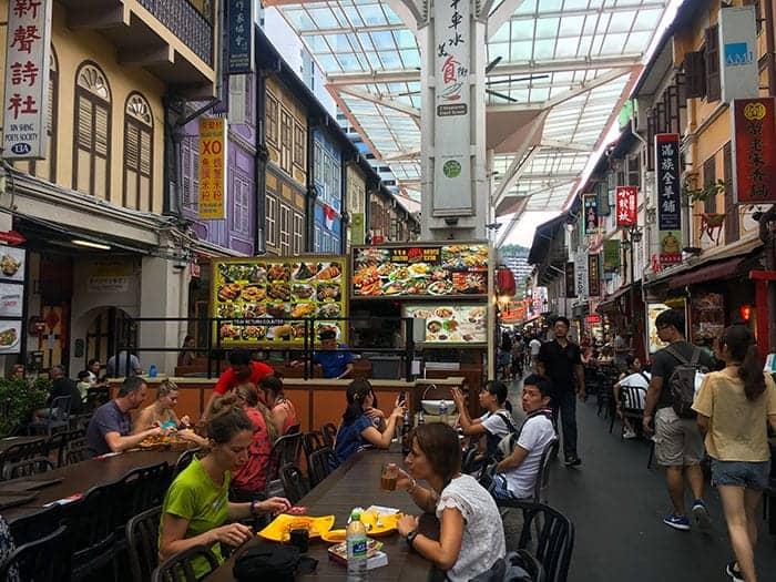 Eating at Chinatown food street singapore