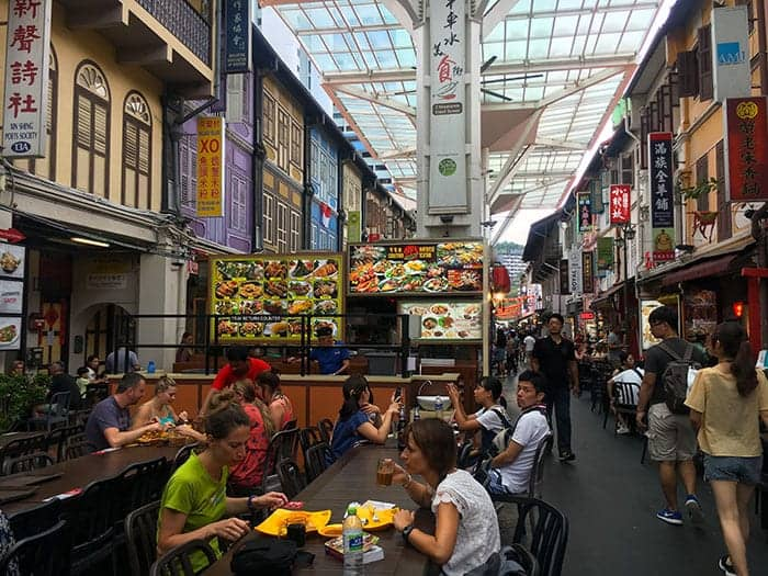 Eating at Chinatown food street singapore