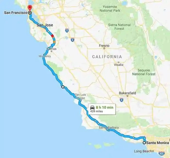 I Am America Map Golden Cities.Usa Drive The Pacific Coast Highway
