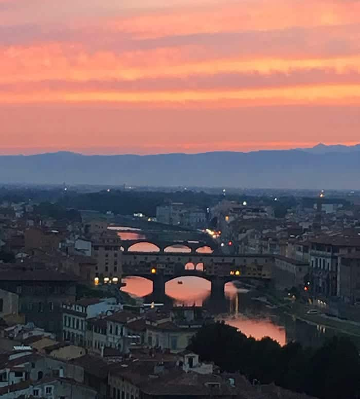 Florence sunset on river