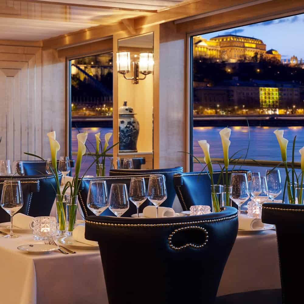 Dining room on river cruise