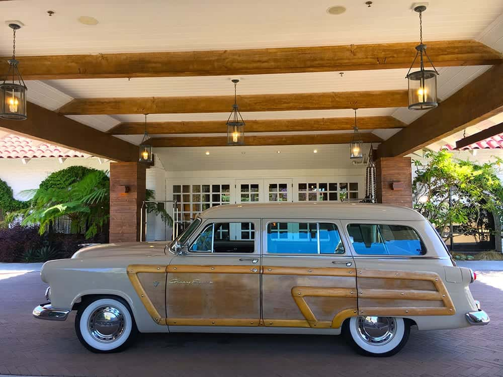 Old Woodie car outside Goodland hotel