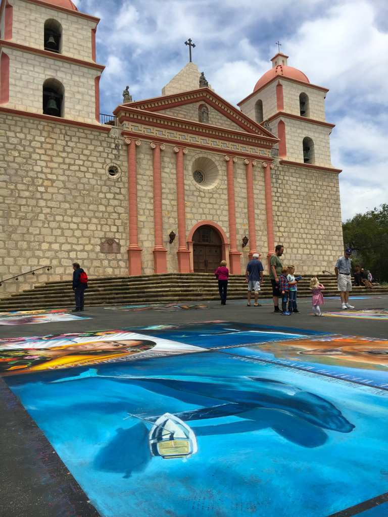 Art on the ground at the Mission Santa Barbara