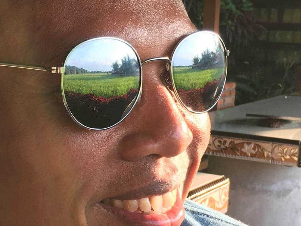 Rice field in sunglasses