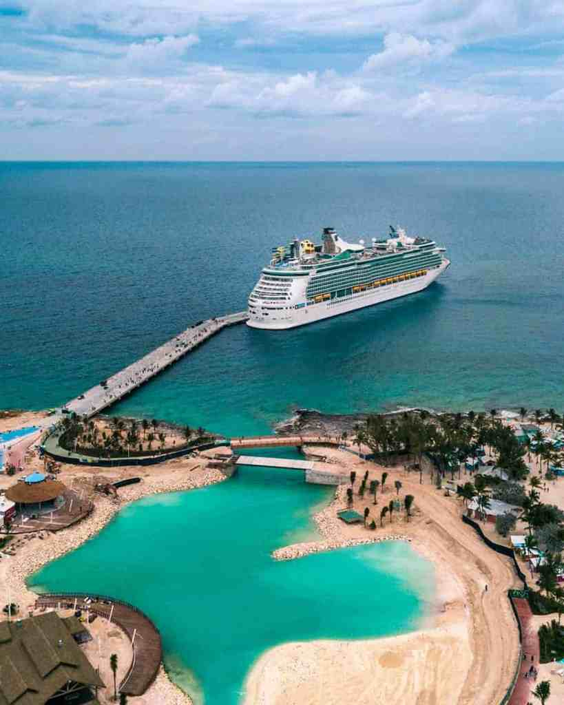 Cruise ship at Coco Cay, Bahamas