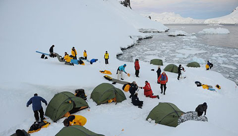 Camping in the Antarctic