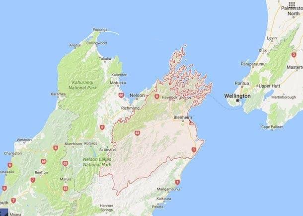 Map of Marlborough NZ