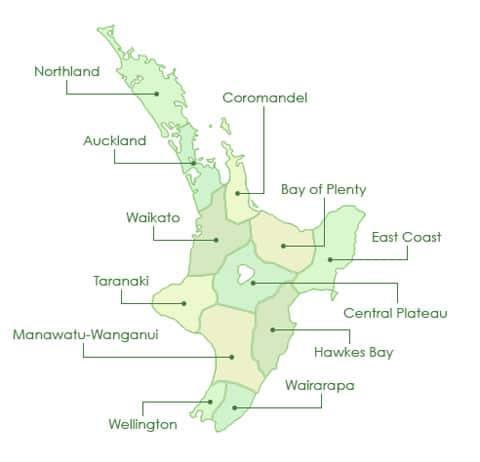 North Island map