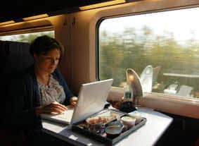 blogger on the train