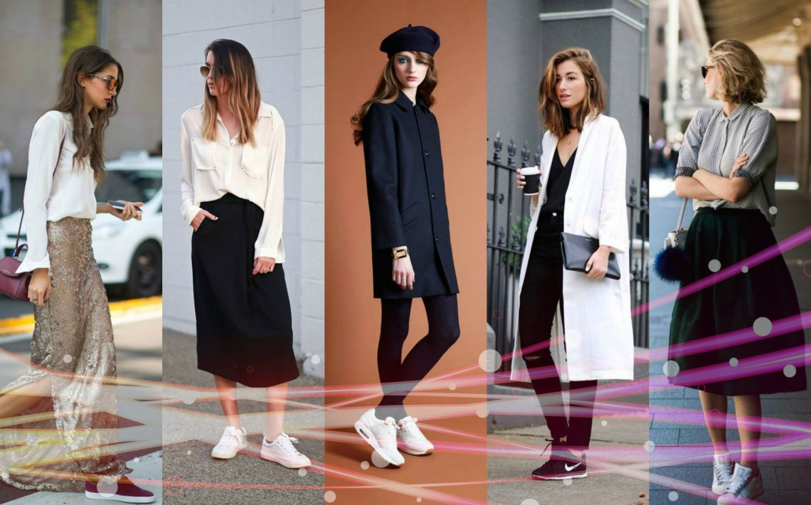breaking the fashion rules - sneakers with skirts or elegant outfits