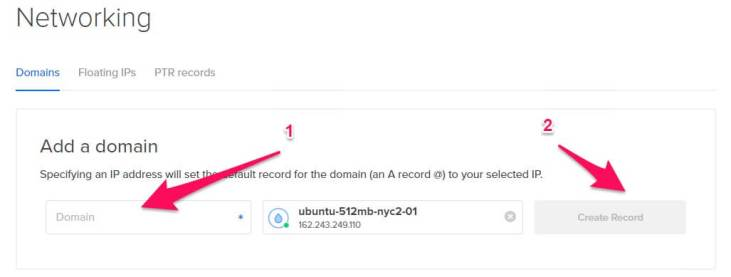 Add domain name and select the droplet