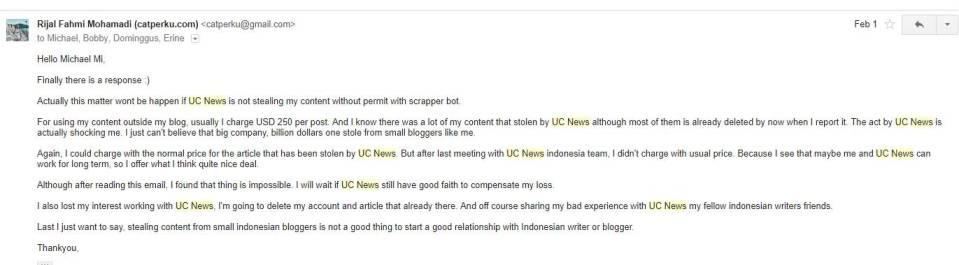 Balesan gue ke orang UC News dari China