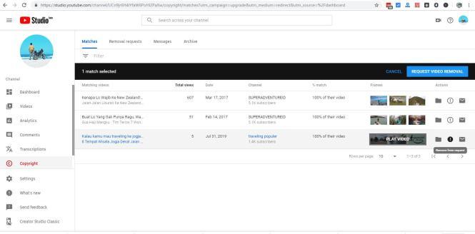 Fitur youtube Copyright Match yang sangat efektif untuk digunakan melawan reuploader yang suka reupload Youtube konten.